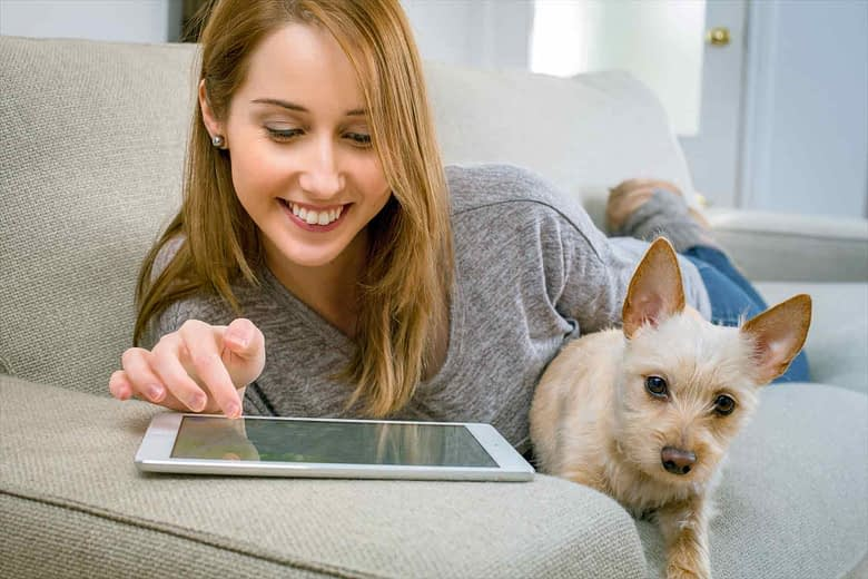 iPad and lady with dog