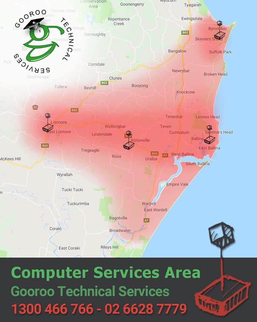 Our mobile computer service range in Northern Rivers NSW