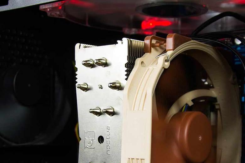 Computer parts inside case close up