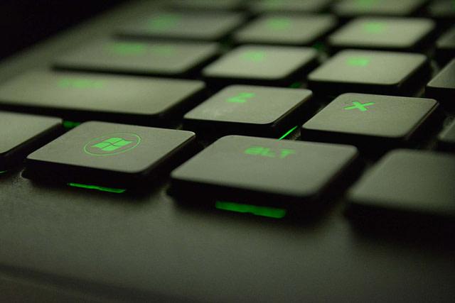 Microsoft Windows 10 laptop keyboard (green)