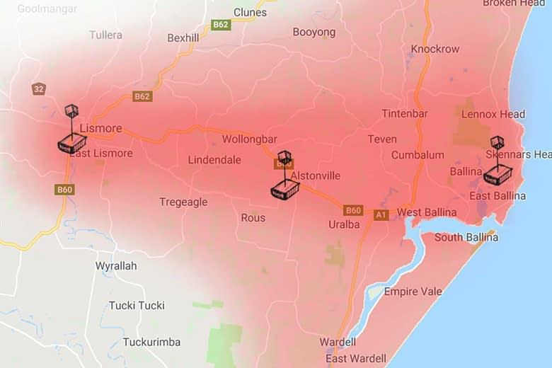 Gooroo Technical Services onsite computer repairs service map for Lismore, Ballina, Byron Bay NSW