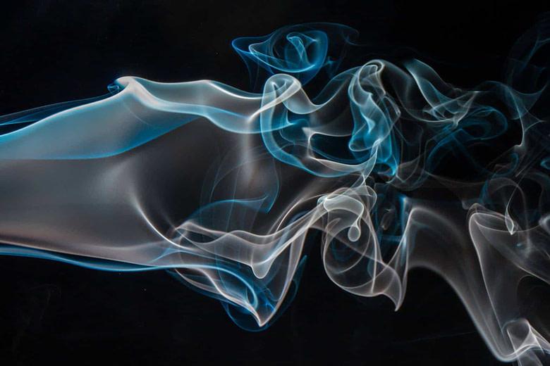 Blue & white digital smoke swirls