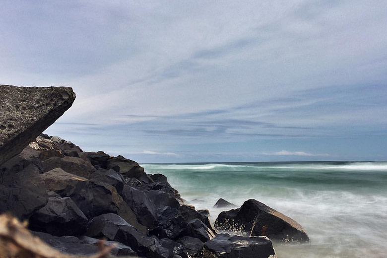 South wall breakwater at south Ballina NSW beach